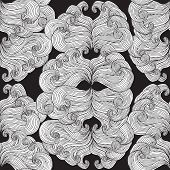 Carnival Mask Seamless Pattern In Black And White