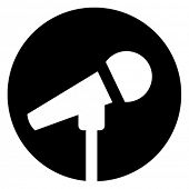 Microphone on stand vector icon