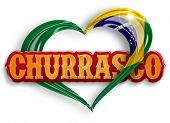 picture of brazilian food  - word churrasco in a heart with the brazilian flag colors - JPG