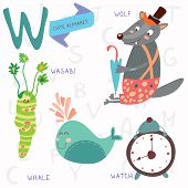 Very Cute Alphabet.w Letter. Wolf, Wasabi, Whale,watch.