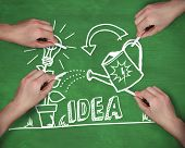 Composite image of multiple hands writing idea with chalk against green