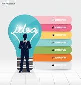 Infographic design template. Businessman showing Light bulb with colorful infographics paper templat
