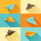 Set of paper planes in flat design style.