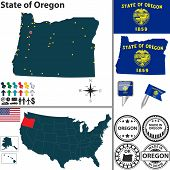 Map Of State Oregon, Usa