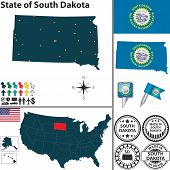 foto of south american flag  - Vector set of South Dakota state with flag and icons on white background - JPG