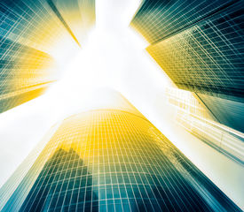 picture of roof-light  - Panoramic and perspective wide angle view to steel light blue background of glass high rise building skyscraper commercial modern city of future - JPG