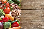 image of pinto bean  - Pinto beans in a bowl and vegetables - JPG