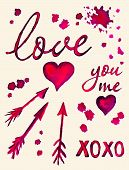 stock photo of xoxo  - Watercolor Love lettering you and me lettering heart and arrows set - JPG