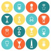 foto of prize  - Trophy icons flat set of competition rewards winner prizes isolated vector illustration - JPG