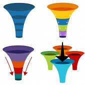 An image of 3d funnel charts.