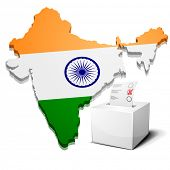 detailed illustration of a ballot box in front of the indian map, eps10 vector
