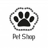 Pet shop logo with pet paw