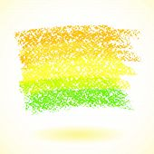 Yellow pastel crayon spot isolated on white background