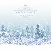 Winter Holiday Background With Blue Snow Scenery