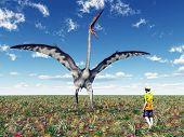 The Pterosaur Quetzalcoatlus and a Tourist