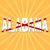 Alabama flag text with sunburst  illustration