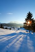 Sunset Over Winter Alpine Meadows