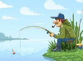 Fisherman with rod fishing on river. Eps10 vector illustration.