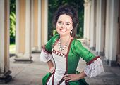 Beautiful Woman In Green Medieval Dress