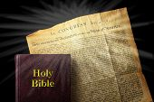 foto of religious  - American religious freedom showing Bible and Declaration of Independence - JPG