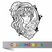 Tattoo Design Of Nice Girl With Long Curly Hair