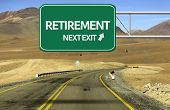 Amazing Road with a creative sign with the text - Retirement, Next Exit