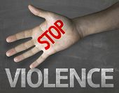Creative composition with the message Stop Violence