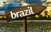 Amazing landscape with Brazil Sign