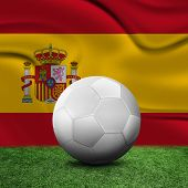 Ball, soccer field and the flag of Spain