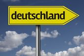 Concept for travel subject - Deutschland yellow sign