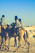 Beduins Leading Tourists On Camels