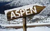 Aspen wooden sign with a snow background