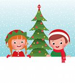 Christmas Elf And Santa Claus And White Banner