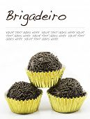 Traditional brazilian Brigadeiro isolated on white background, with text standing in for copy space