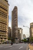 SAO PAULO, BRAZIL - AUG 24: The Italy Building in downtown on August 24, 2013 in Sao Paulo, Brazil. The Italy Building is a 168 metre tall ,built from 1956 to 1965 and it hosts a restaurant.