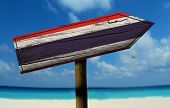 pic of bandeiras  - Thailand wooden sign with a beach on background  - JPG