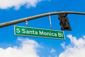 Santa Monica Blvd overhead street in Los Angeles, California - USA