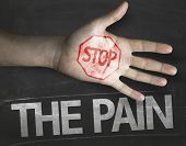 Educational and Creative composition with the message Stop The Pain on the blackboard