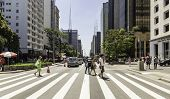 SAO PAULO, BRAZIL - NOV 10: Paulista Avenue on November 10, 2013, in Sao Paulo, Brazil. Paulista is one of the most important avenues in Sao Paulo with 2.8 kilometer of thoroughfare.