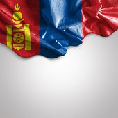 stock photo of bator  - Waving flag of Mongolia - JPG