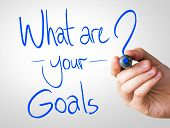 What are your goals hand writing with a blue mark on a transparent board