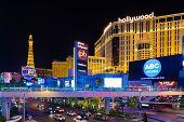 LAS VEGAS, USA - SEP 15: Famous Las Vegas Strip hotels on September 15, 2013 in Las Vegas. The Las Vegas Strip is an approximately 4.2-mile stretch of Las Vegas Boulevard in Clark County, Nevada.