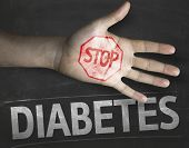 Educational and Creative composition with the message Stop Diabetes on the blackboard