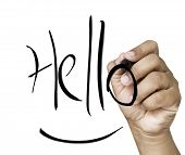 Hello hand writing with black mark on a transparent board