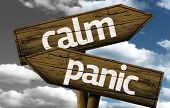 Calm x Panic creative sign with clouds as the background