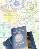 Brazilian Passport isolated on a stamp paper