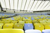 Colored Seating rows on the stadium