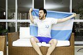 Argentine fan celebrates at home