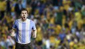 Argentine player celebrates on the stadium