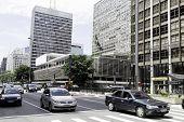 SAO PAULO, BRAZIL - CIRCA FEB 2014: Traffic on Paulista Avenue in Sao Paulo, Brazil. Paulista is one of the most important avenues in Sao Paulo with 2.8 kilometer of thoroughfare.